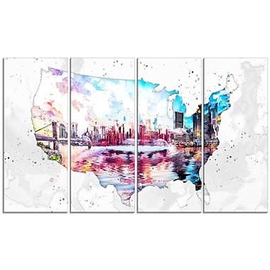 Design Art City Sunset on the Map 4-Panel Canvas Art Print