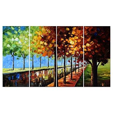 Designart – Paysage d'arbres changeant de couleur, toile imprimée 4 panneaux