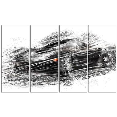 Designart – Voiture sport noire, grande toile de style galerie