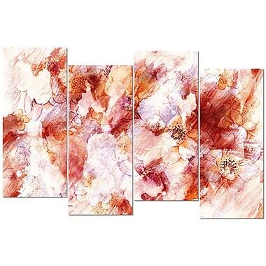 Design Art – Imprimé abstrait sur toile, fleurs orange, 4 panneaux
