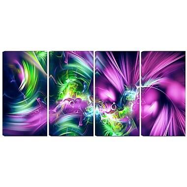 Design Art Green and Purple Shine 4-Panel Contemporary Canvas Art Print