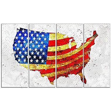 Design Art – Drapeau des États-Unis sur une carte, impression sur toile 4 panneaux