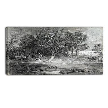 Designart – Imprimé sur toile, paysage boisé avec camps, Thomas Gainsborough
