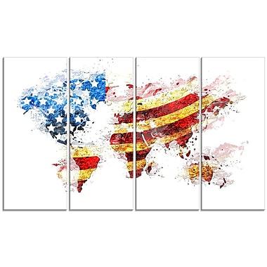 DesignArt – Imprimé sur toile, carte des É.-U. avec drapeau