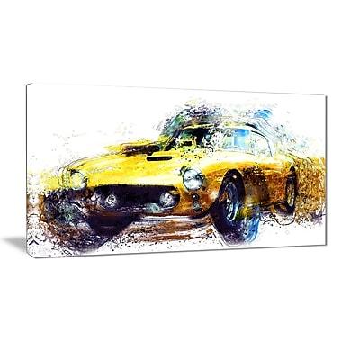 Designart – Art imprimé sur toile, voiture classique jaune, 32 po
