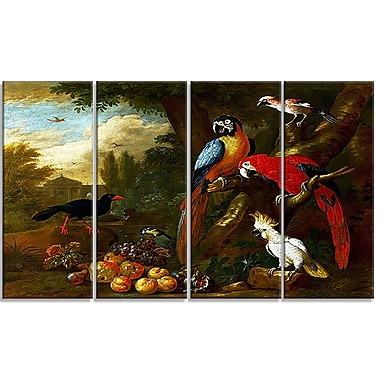 Design Art – Jakob Bogdani, Two Macaws, a Cockatoo, and a Jay, impression sur toile 4 panneaux