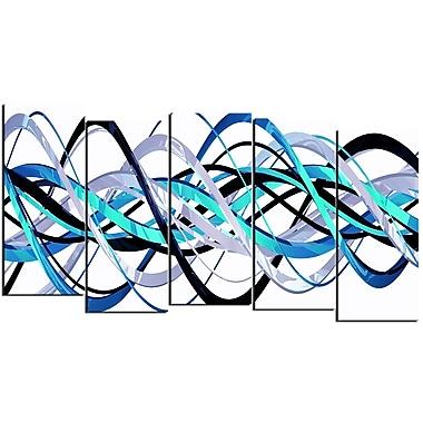 DesignArt – Imprimé moderne sur toile, spirale bleue et argentée, 5 pièces