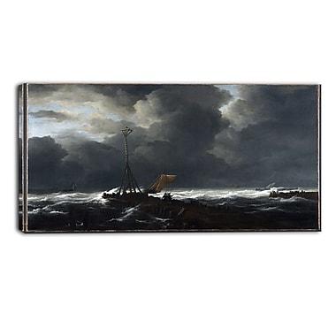 Design Art Jacob van Ruisdael, Rough Sea at a Jetty Sea & Shore Canvas Artwork
