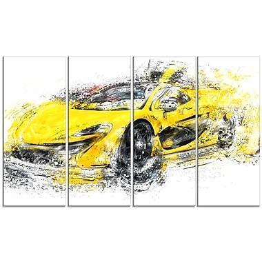 Designart – Élégante voiture jaune exotique, toile de style galerie, 4 panneaux