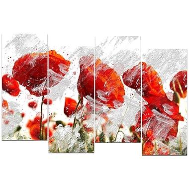 Design Art – Imprimé abstrait sur toile, boutons de fleur rouge orangé