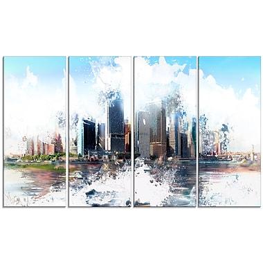 Designart – Art imprimé sur toile, arrière de paysage urbain, 4 panneaux