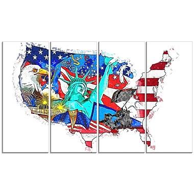 Design Art – Carte avec monuments américains, toile
