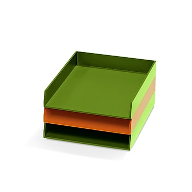 Bindertek – Ensemble de 3 bacs de rangement de bureau en bois de couleur vive