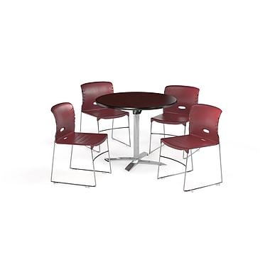 OFM ? Table ronde polyvalente de 36 po en stratifié acajou avec plateau repliable et 4 chaises