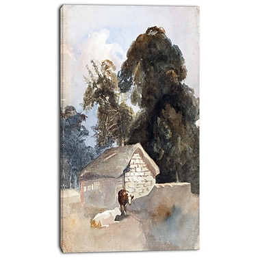 Design Art – Peter DeWint, Landscape with Cows and Barn, impression sur toile