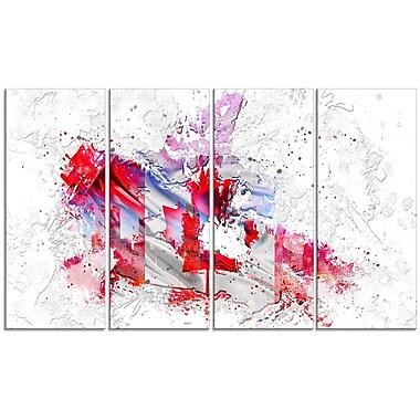 Design Art - Carte sur toile 4 panneaux à l'effigie du drapeau canadien