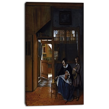 Design Art – Pieter de Hooch, Woman Preparing Bread for a Boy, impression sur toile 4 panneaux