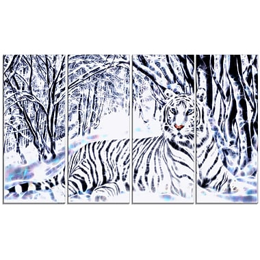 Design Art – Tigre et forêts blancs, impression sur toile moderne 4 panneaux