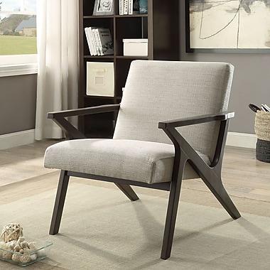 !nspire – Chaise d'appoint en tissu à accoudoirs en bois