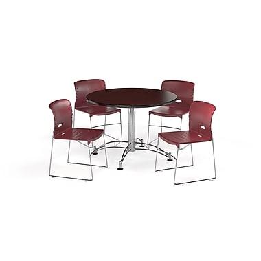OFM ? Table ronde et polyvalente de 42 po en stratifié acajou avec 4 chaises