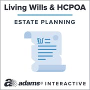 Adams Living Will and Health Care Power of Attorney, 1-User, Instant Web Downloaded Form