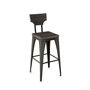 Amisco – Tabouret de comptoir en métal Station, siège et dossier en bois vieilli (40261-26WE/1B5184)