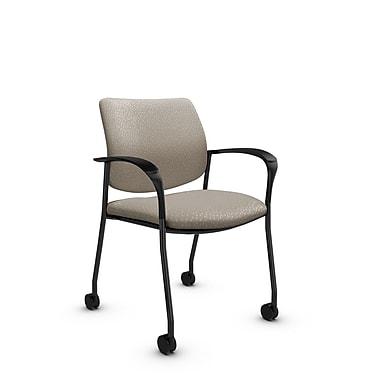 GlobalMD – Chaise d'invité et de réception Sidero à roulettes (6900C MT20), tissu Match désert