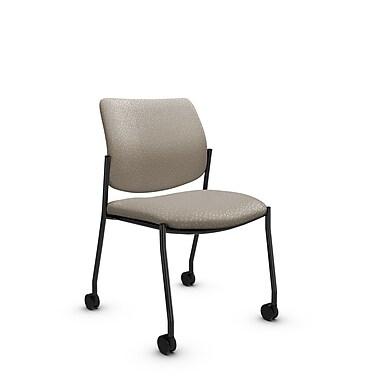 GlobalMD – Chaise d'invité et de réception Sidero à roulettes sans accoudoirs (6901C MT20), tissu Match désert