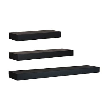 nexxt Maine Wall Shelf, Black, 3/Pack