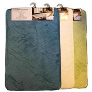 Lauren Taylor London Memory Foam Bath Mat, Bloom Design, Blue, (BATHMATBLOOM)