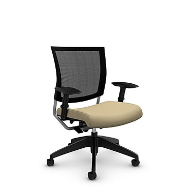 Global® (2738MB IM70) Graphic Mesh Posture Chairs, Imprint Almond Fabric, Tan