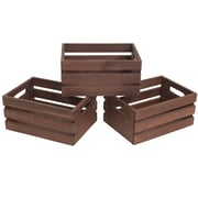 Cathay Importers Rustic Rect Wood Storage Crates, 3-Piece Set, Dark Brown