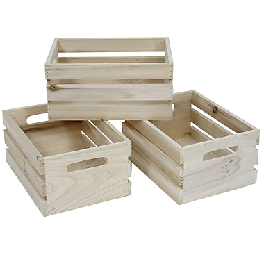 Cathay Importers Natural Rect Wood Storage Crates, 3-Piece Set
