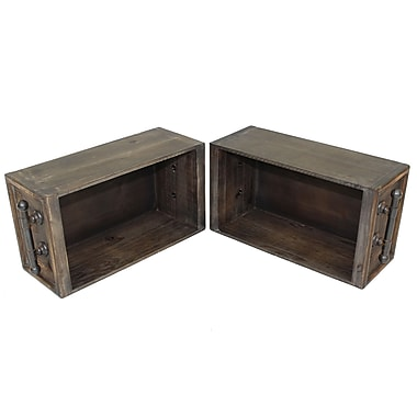Cathay Importers Rustic Brown Wood Storage Wall Shelf with Antique Decorative Metal Side Rails
