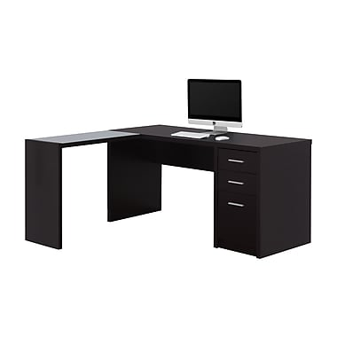 Monarch I 7137 Computer Desk, Cappuccino Corner with Tempered Glass