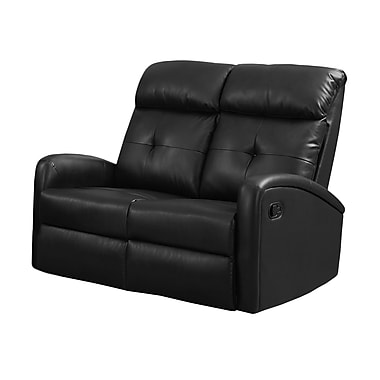 Monarch I 88BK-2 Reclining, Black Bonded Leather Love Seat