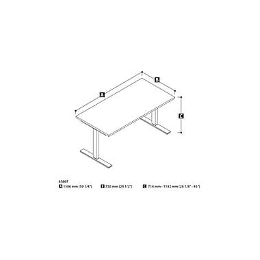 Bestar – Table motorisée à hauteur réglable, 30 po x 60 po, blanc (65867-17)