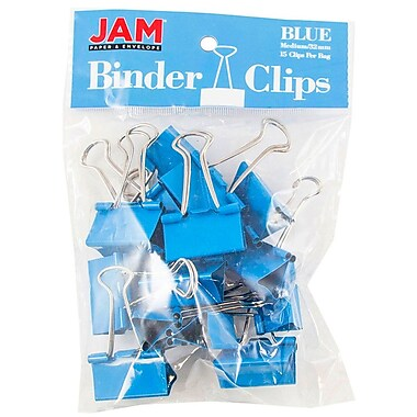 JAM PaperMD – Pinces relieuses, moyennes, 1,25 po/32 mm, 30/paquet