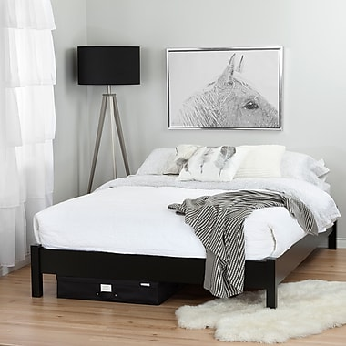 South Shore Step One Pure Queen Platform Bed (60'') on Legs with Canvas Underbed Storage Box (100108)