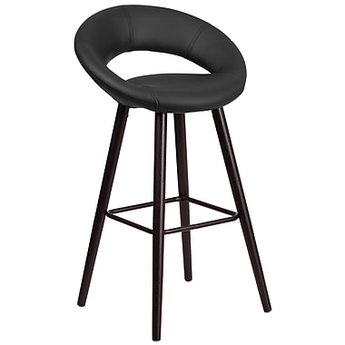 Flash Furniture Kelsey Series 29'' High Contemporary Vinyl Barstool with Cappuccino Wood Frame (CH-152550-BK-VY-GG)