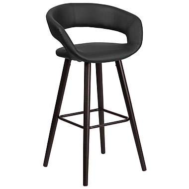 Flash Furniture Brynn Series 29'' High Contemporary Vinyl Barstool with Wood Frame (CH-152560-BK-VY-GG)