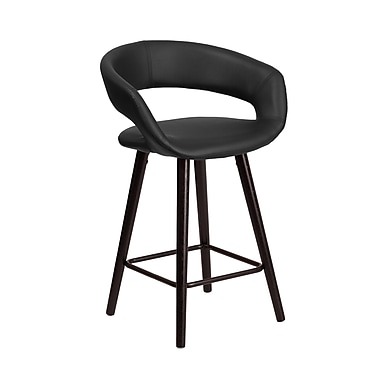 Flash Furniture Brynn Series 24'' High Contemporary Vinyl Counter Height Stool with Wood Frame (CH-152561-BK-VY-GG)