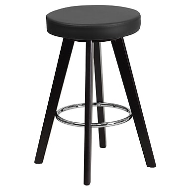 Flash Furniture Trenton Series 24'' High Contemporary Vinyl Counter Height Stool with Wood Frame (CH-152600-BK-VY-GG)