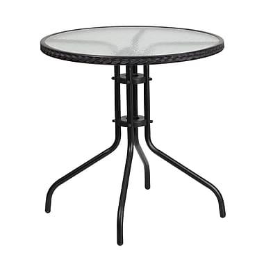 Flash Furniture – Table ronde en verre trempé et en métal de 28 po avec bordure en rotin (TLH-087-BK-GG)