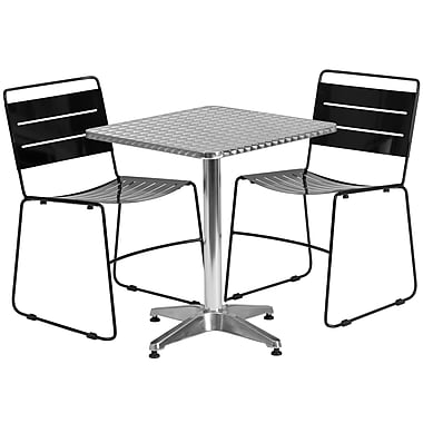 Flash Furniture 23.5'' Square Aluminum Indoor-Outdoor Table with 2 Metal Stack Chairs (TLH-ALUM-24SQ-HA1BK2-GG)