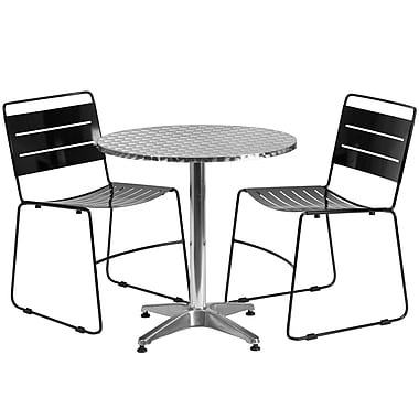 Flash Furniture 27.5'' Round Aluminum Indoor-Outdoor Table with 2 Metal Stack Chairs (TLH-ALUM-28RD-HA1BK2-GG)