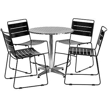 Flash Furniture 27.5'' Round Aluminum Indoor-Outdoor Table with 4 Metal Stack Chairs (TLH-ALUM-28RD-HA1BK4-GG)