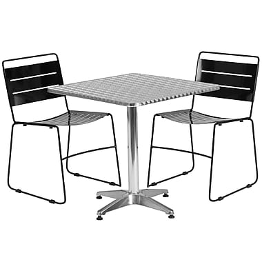 Flash Furniture – Table carrée 27,5 po en aluminium avec 2 chaises empilables en métal, int./ext. (TLH-ALUM-28SQ-HA1BK2-GG)