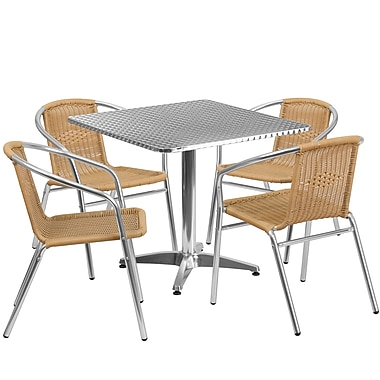 Flash Furniture 31.5'' Square Aluminum Indoor-Outdoor Table with 4 Rattan Chairs (TLH-ALUM-32SQ-020BGECHR4-GG)