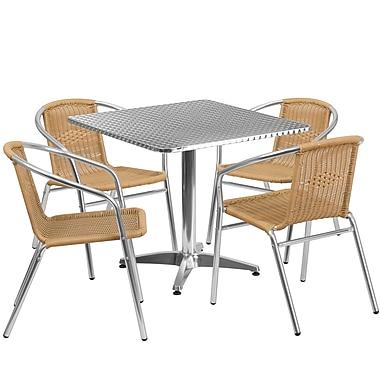 Flash Furniture – Table carrée 31,5 po en aluminium avec 4 chaises en rotin, intérieur/extérieur (TLH-ALUM-32SQ-020BGECHR4-GG)